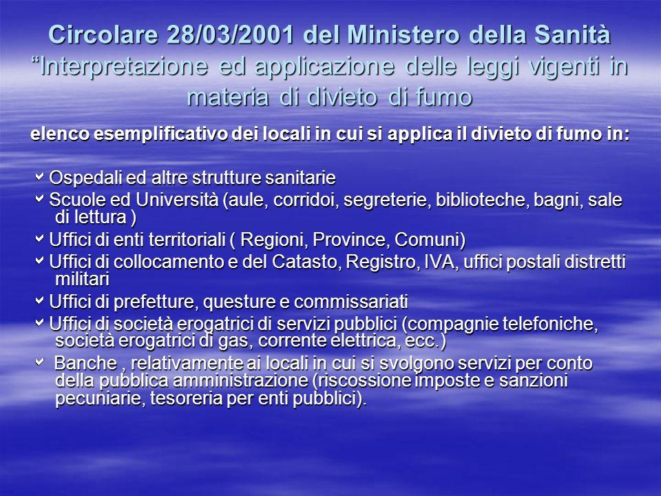 Circolare 28/03/2001 del Ministero della Sanità Interpretazione ed applicazione delle leggi vigenti in materia di divieto di fumo