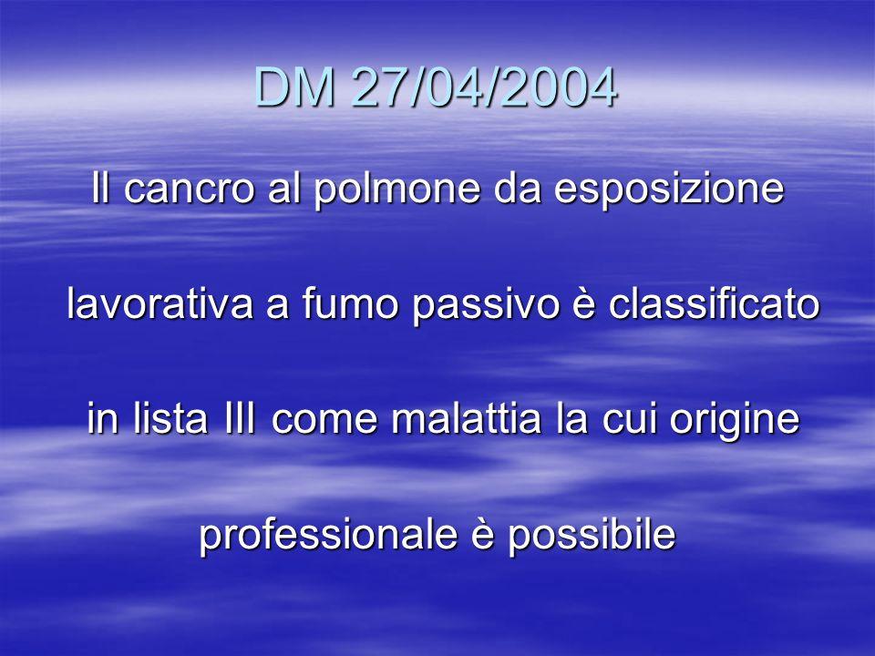 DM 27/04/2004 Il cancro al polmone da esposizione