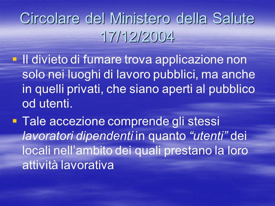 Circolare del Ministero della Salute 17/12/2004
