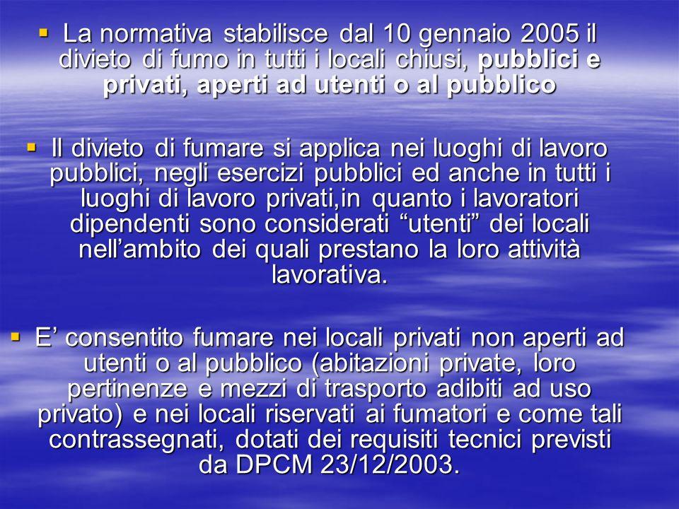 La normativa stabilisce dal 10 gennaio 2005 il divieto di fumo in tutti i locali chiusi, pubblici e privati, aperti ad utenti o al pubblico