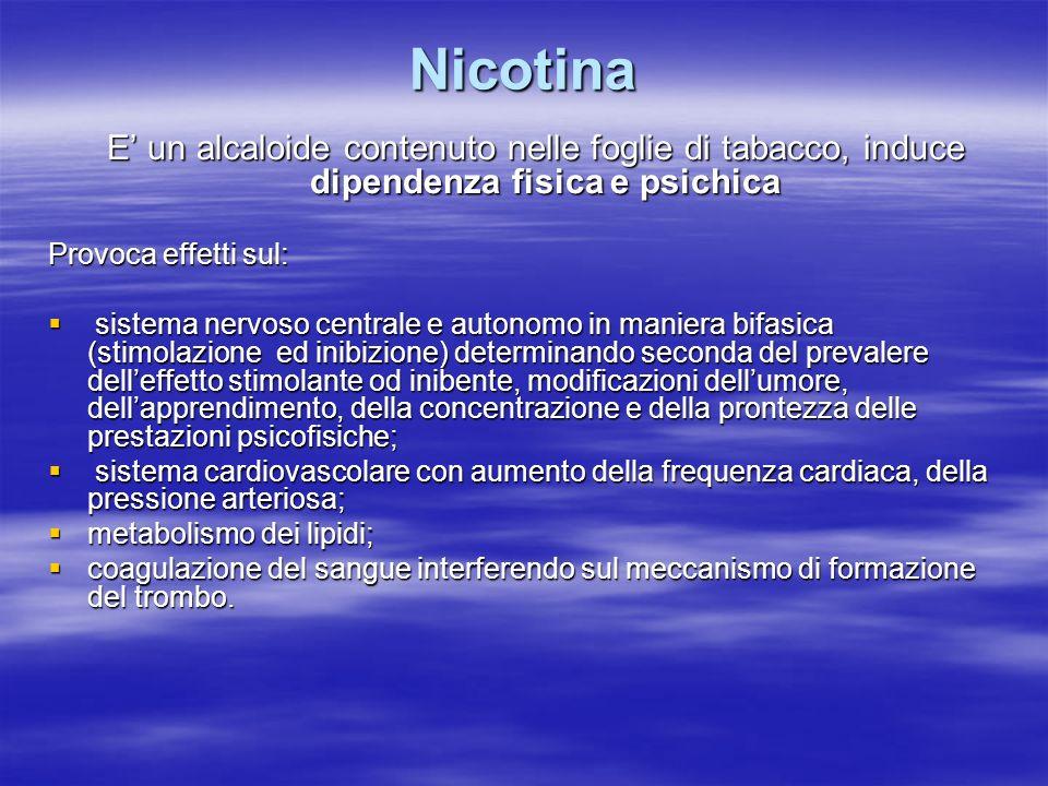 Nicotina Provoca effetti sul: