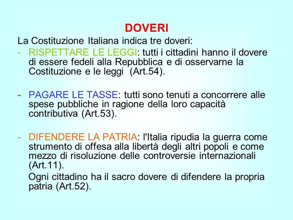 DOVERI La Costituzione Italiana indica tre doveri:
