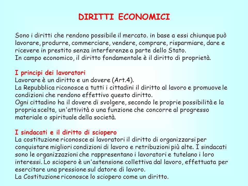 DIRITTI ECONOMICI Sono i diritti che rendono possibile il mercato. in base a essi chiunque può.