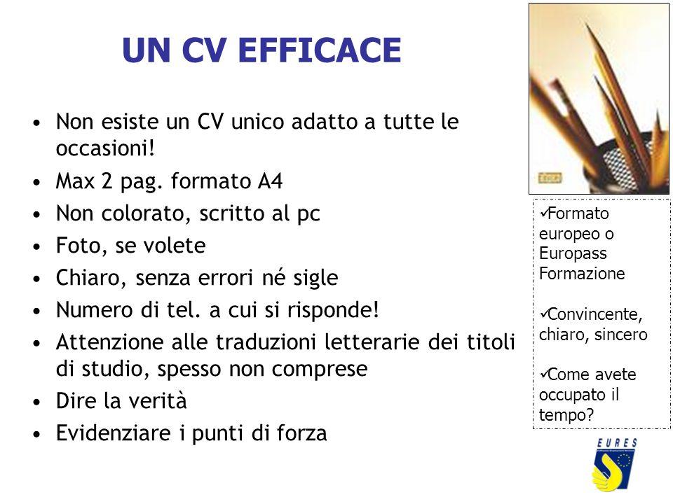 UN CV EFFICACE Non esiste un CV unico adatto a tutte le occasioni!