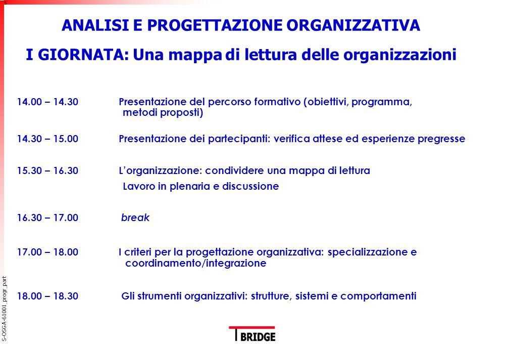 ANALISI E PROGETTAZIONE ORGANIZZATIVA II GIORNATA: Modelli organizzativi e cultura aziendale