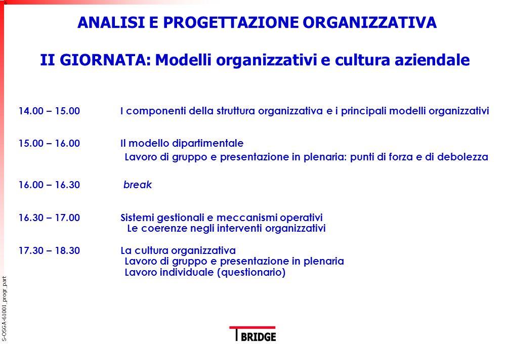 ANALISI E PROGETTAZIONE ORGANIZZATIVA III GIORNATA: L'organizzazione per processi