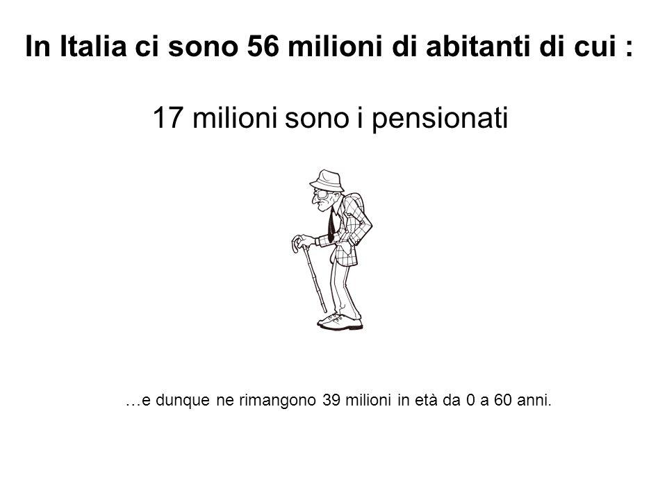 In Italia ci sono 56 milioni di abitanti di cui :
