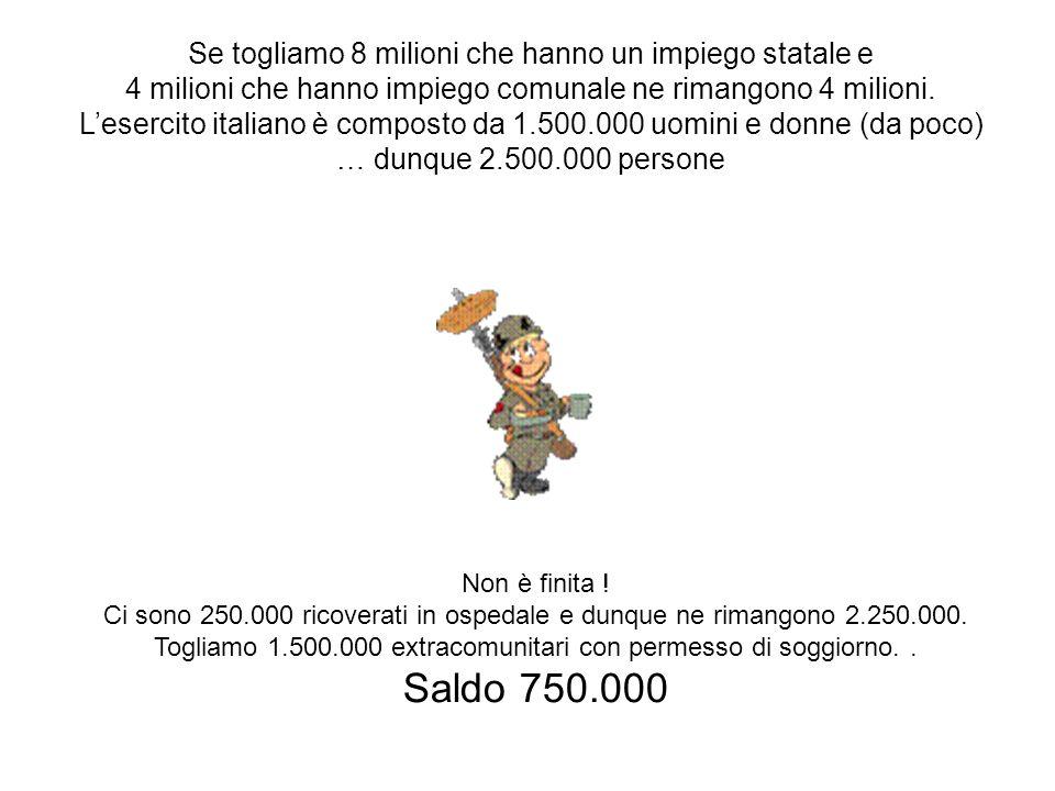 Saldo 750.000 Se togliamo 8 milioni che hanno un impiego statale e