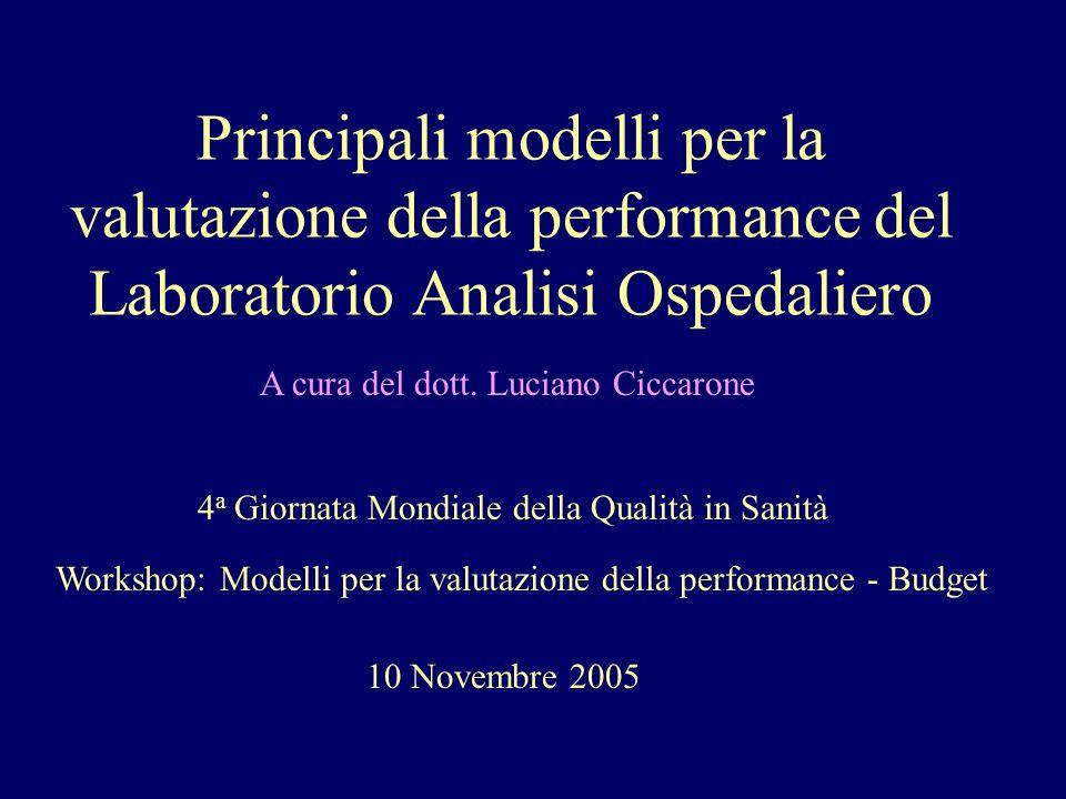 Principali modelli per la valutazione della performance del Laboratorio Analisi Ospedaliero