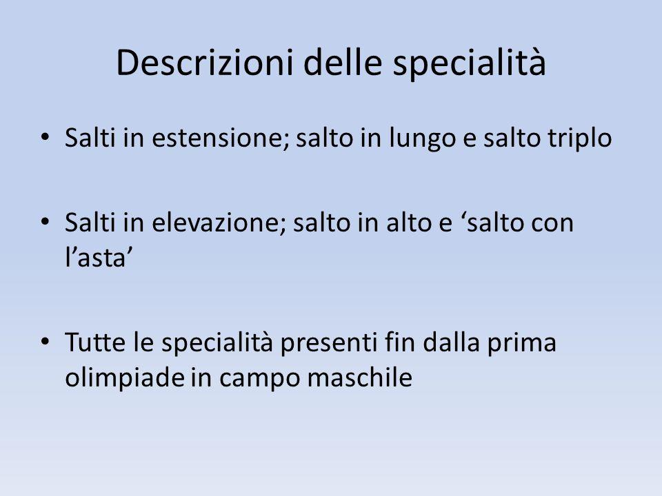 Descrizioni delle specialità
