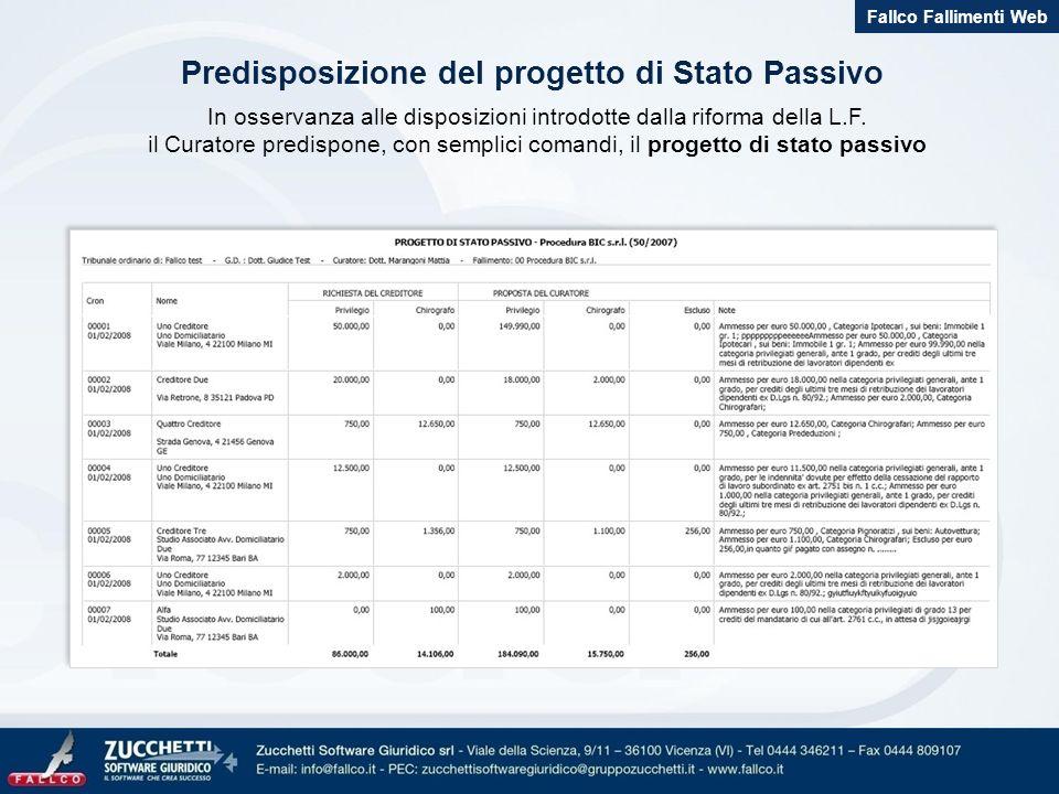 Predisposizione del progetto di Stato Passivo