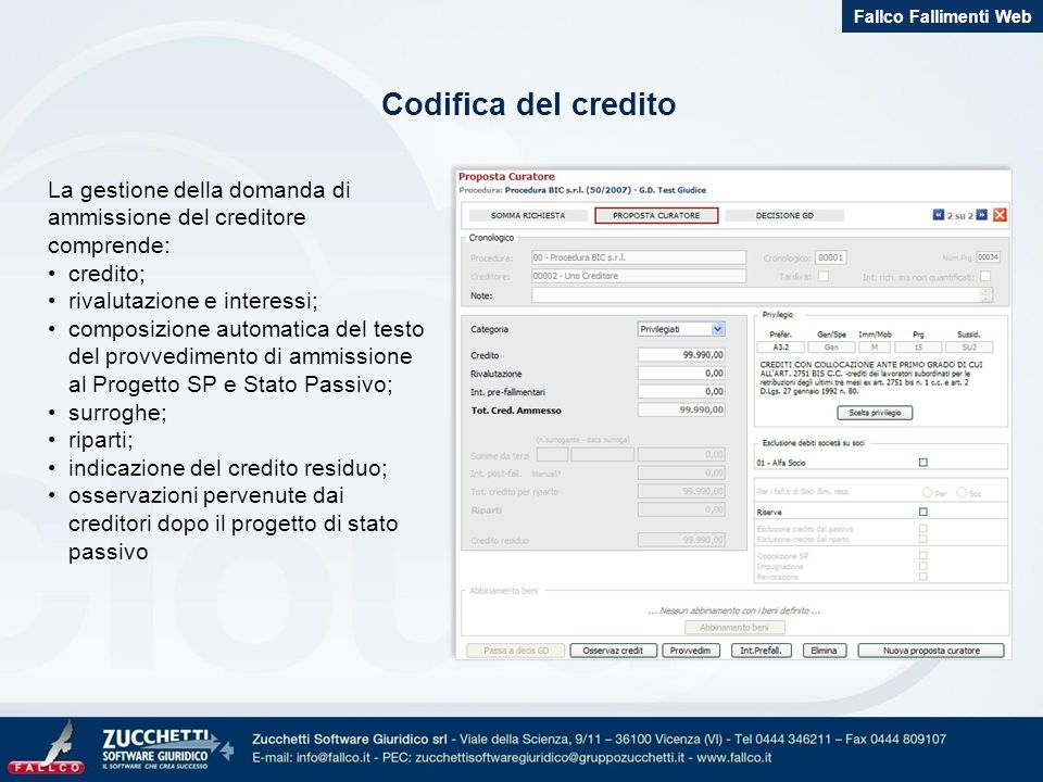 Fallco Fallimenti Web Codifica del credito. La gestione della domanda di ammissione del creditore comprende: