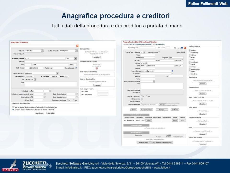 Anagrafica procedura e creditori