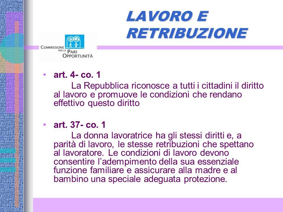 LAVORO E RETRIBUZIONE art. 4- co. 1