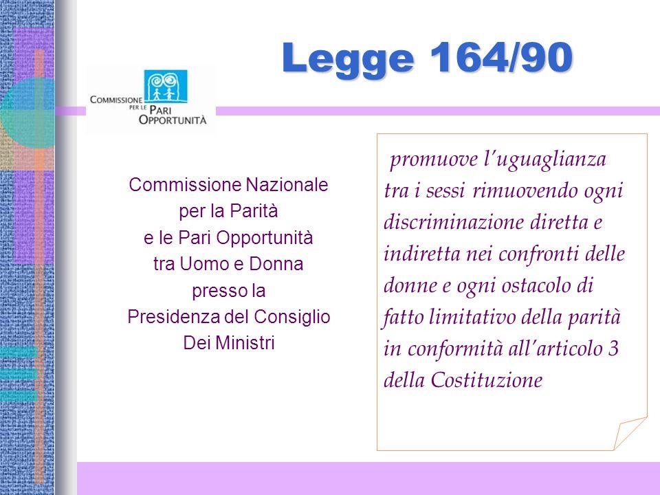 Legge 164/90 promuove l'uguaglianza tra i sessi rimuovendo ogni