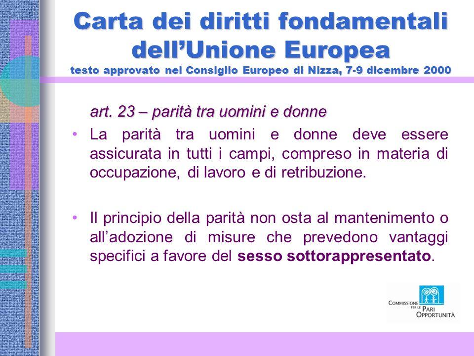 Carta dei diritti fondamentali dell'Unione Europea testo approvato nel Consiglio Europeo di Nizza, 7-9 dicembre 2000