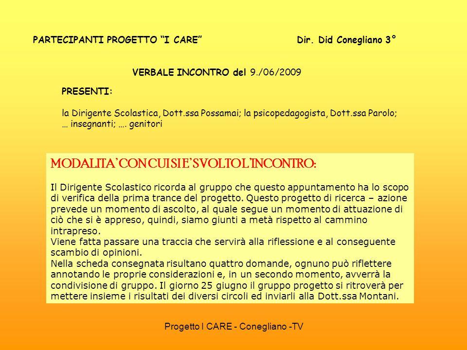 PARTECIPANTI PROGETTO I CARE Dir. Did Conegliano 3°