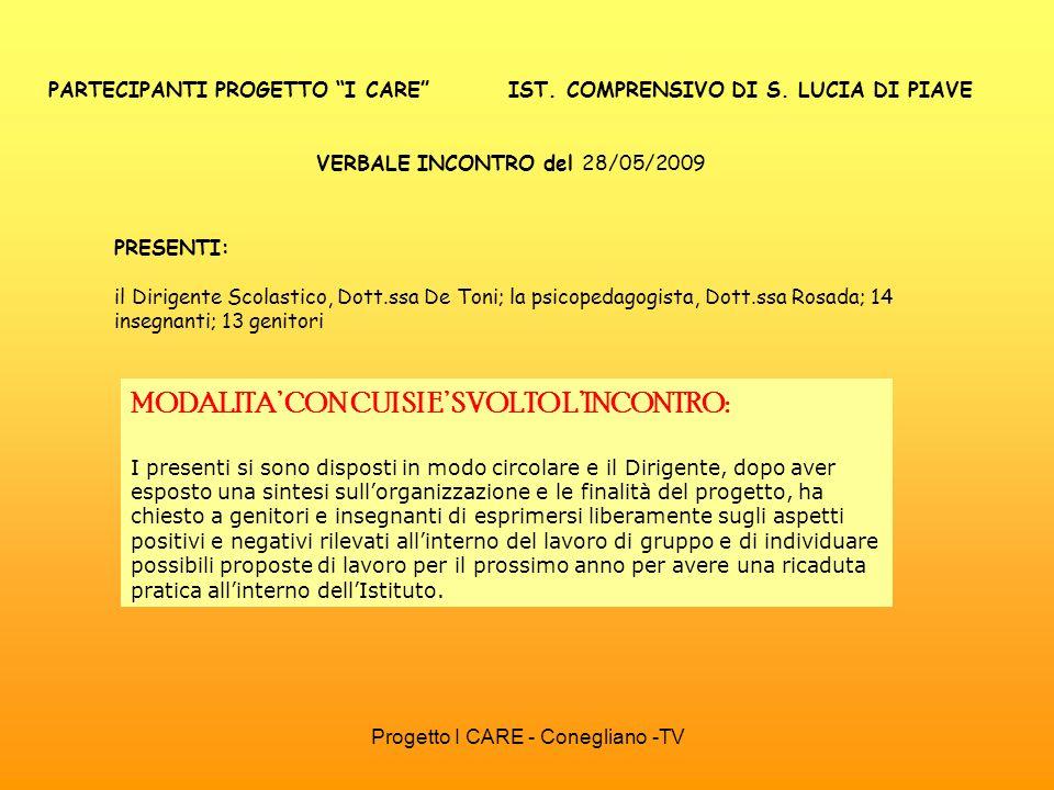 PARTECIPANTI PROGETTO I CARE IST. COMPRENSIVO DI S. LUCIA DI PIAVE