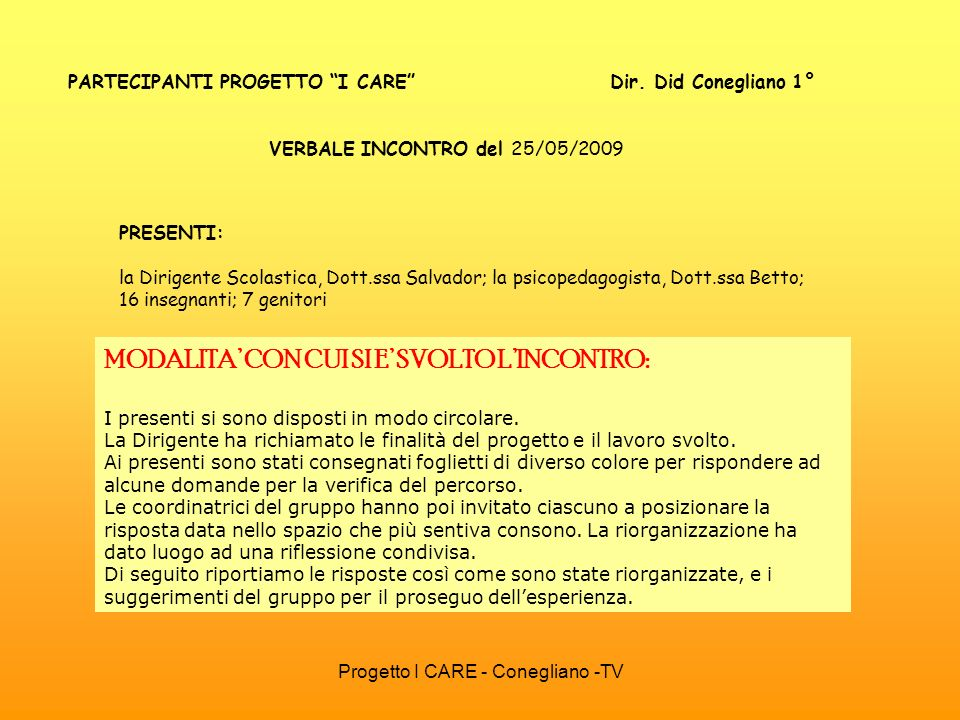 PARTECIPANTI PROGETTO I CARE Dir. Did Conegliano 1°
