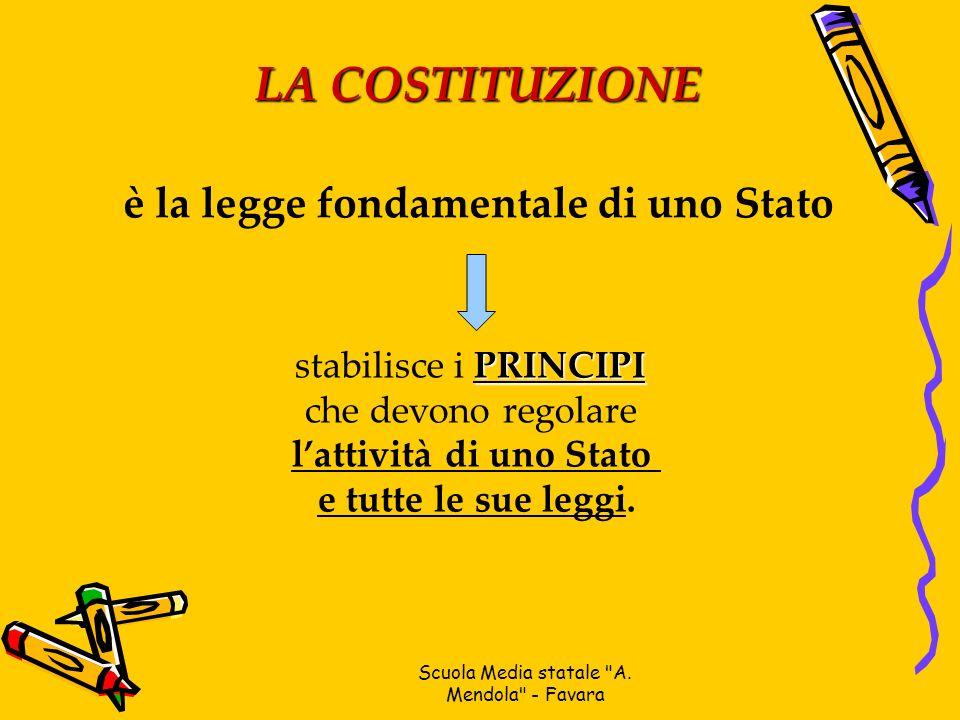 LA COSTITUZIONE è la legge fondamentale di uno Stato