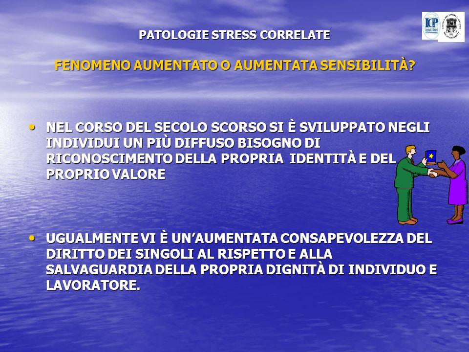 PATOLOGIE STRESS CORRELATE FENOMENO AUMENTATO O AUMENTATA SENSIBILITÀ