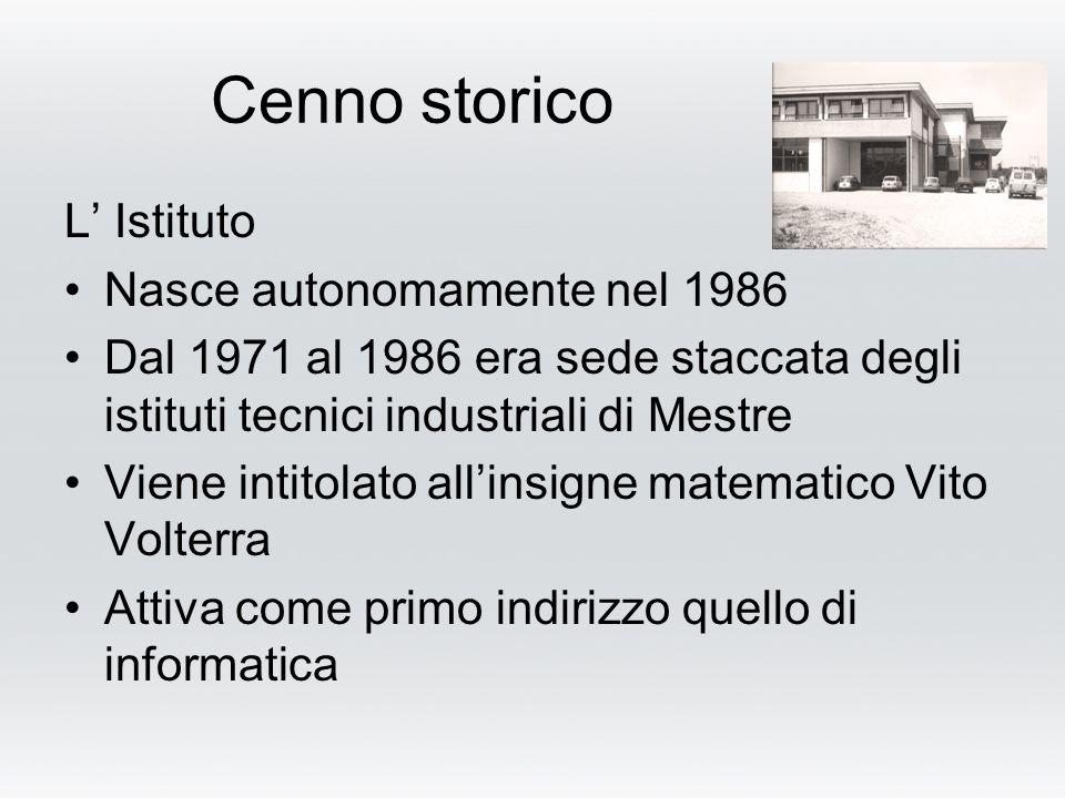Cenno storico L' Istituto Nasce autonomamente nel 1986