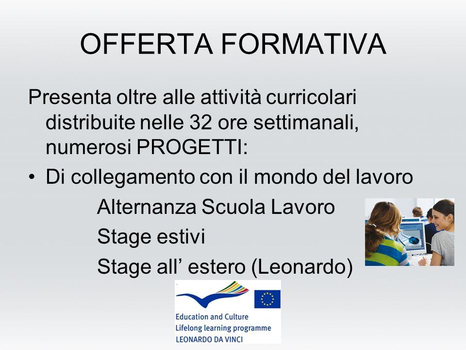 OFFERTA FORMATIVA Presenta oltre alle attività curricolari distribuite nelle 32 ore settimanali, numerosi PROGETTI: