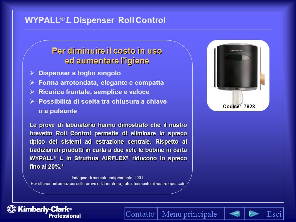 WYPALL® L Dispenser Roll Control
