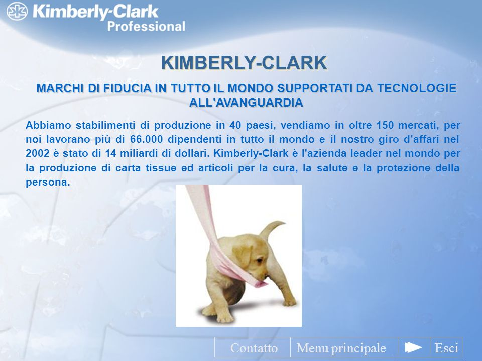 KIMBERLY-CLARK Contatto Menu principale Esci