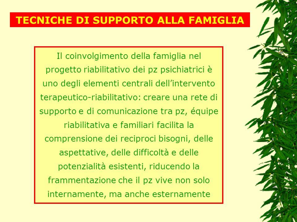 TECNICHE DI SUPPORTO ALLA FAMIGLIA
