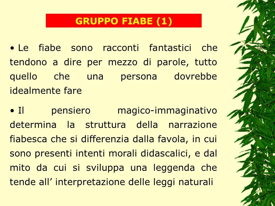 GRUPPO FIABE (1) Le fiabe sono racconti fantastici che tendono a dire per mezzo di parole, tutto quello che una persona dovrebbe idealmente fare.