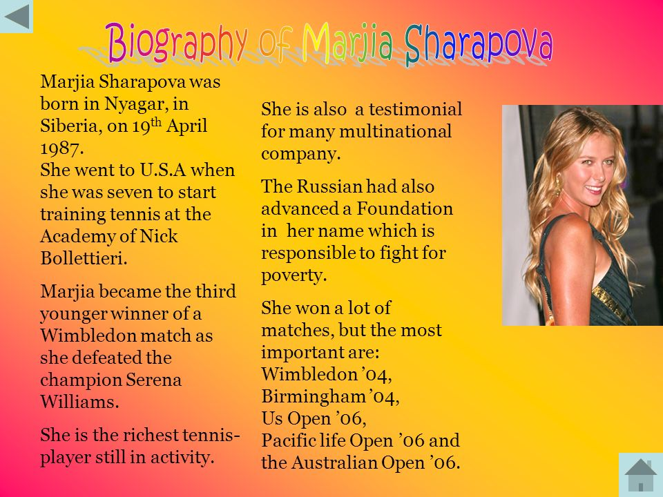 Biography of Marjia Sharapova