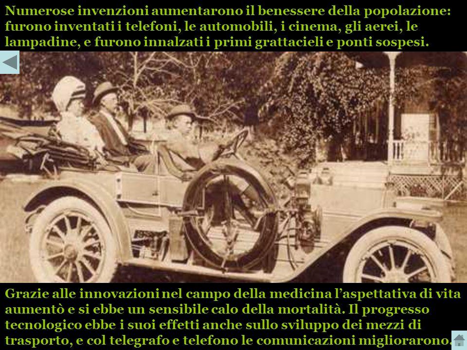 Numerose invenzioni aumentarono il benessere della popolazione: furono inventati i telefoni, le automobili, i cinema, gli aerei, le lampadine, e furono innalzati i primi grattacieli e ponti sospesi.