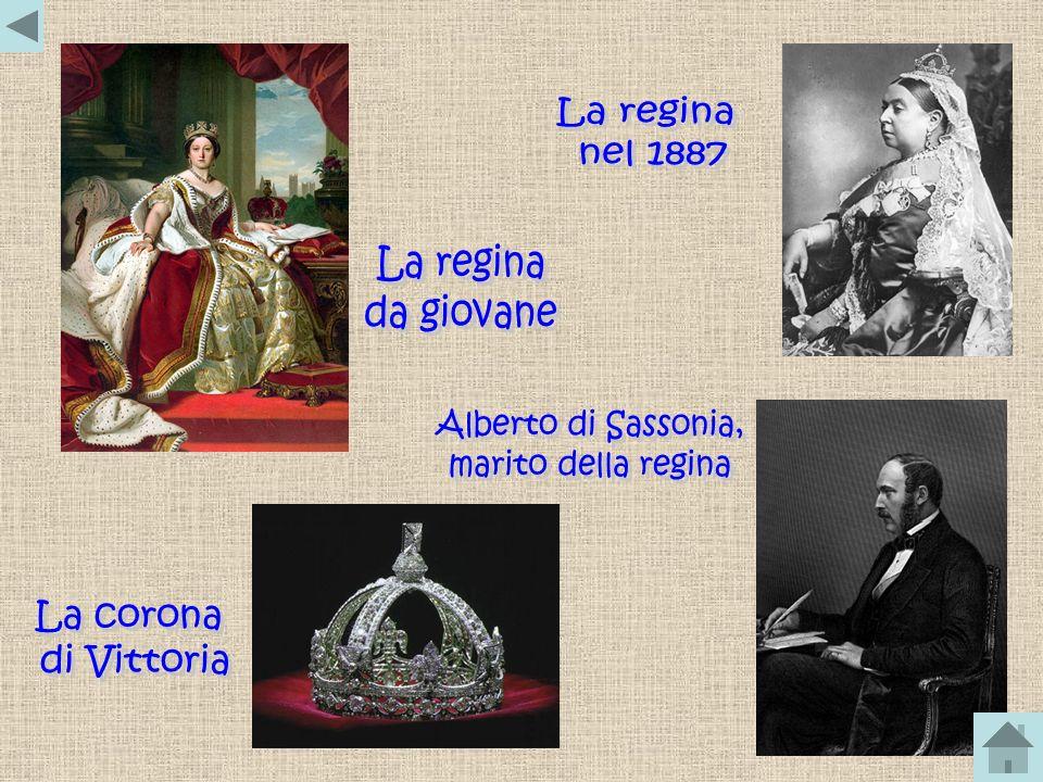 La regina nel 1887. La regina. da giovane. Alberto di Sassonia, marito della regina. La corona.