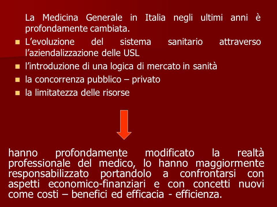 La Medicina Generale in Italia negli ultimi anni è profondamente cambiata.