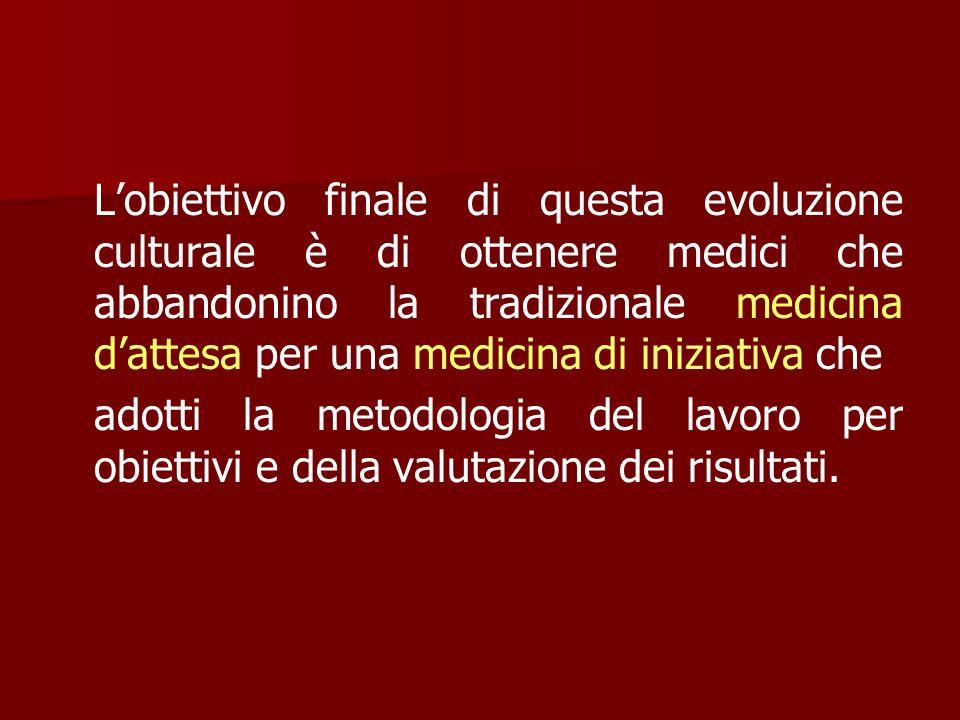 L'obiettivo finale di questa evoluzione culturale è di ottenere medici che abbandonino la tradizionale medicina d'attesa per una medicina di iniziativa che