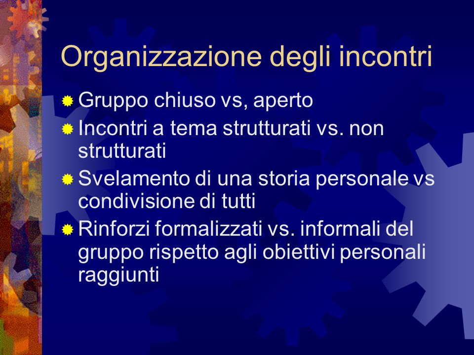 Organizzazione degli incontri