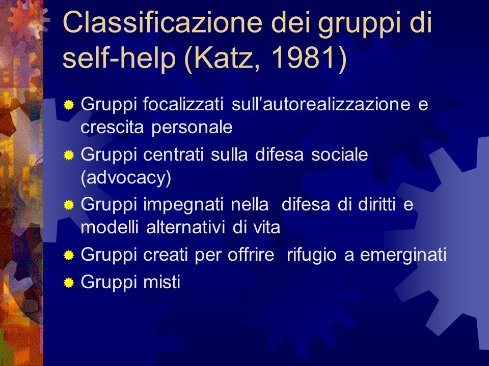 Classificazione dei gruppi di self-help (Katz, 1981)