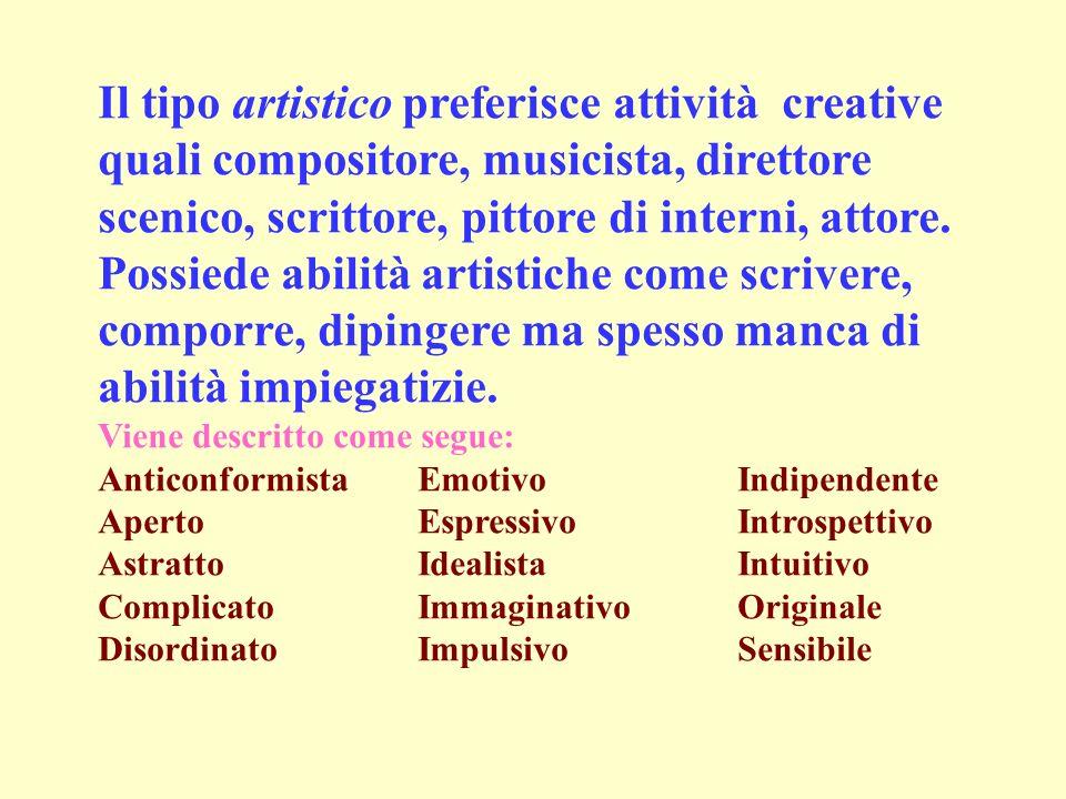 Il tipo artistico preferisce attività creative quali compositore, musicista, direttore scenico, scrittore, pittore di interni, attore. Possiede abilità artistiche come scrivere, comporre, dipingere ma spesso manca di abilità impiegatizie.