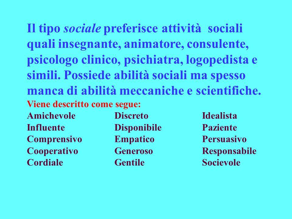 Il tipo sociale preferisce attività sociali quali insegnante, animatore, consulente, psicologo clinico, psichiatra, logopedista e simili. Possiede abilità sociali ma spesso manca di abilità meccaniche e scientifiche.