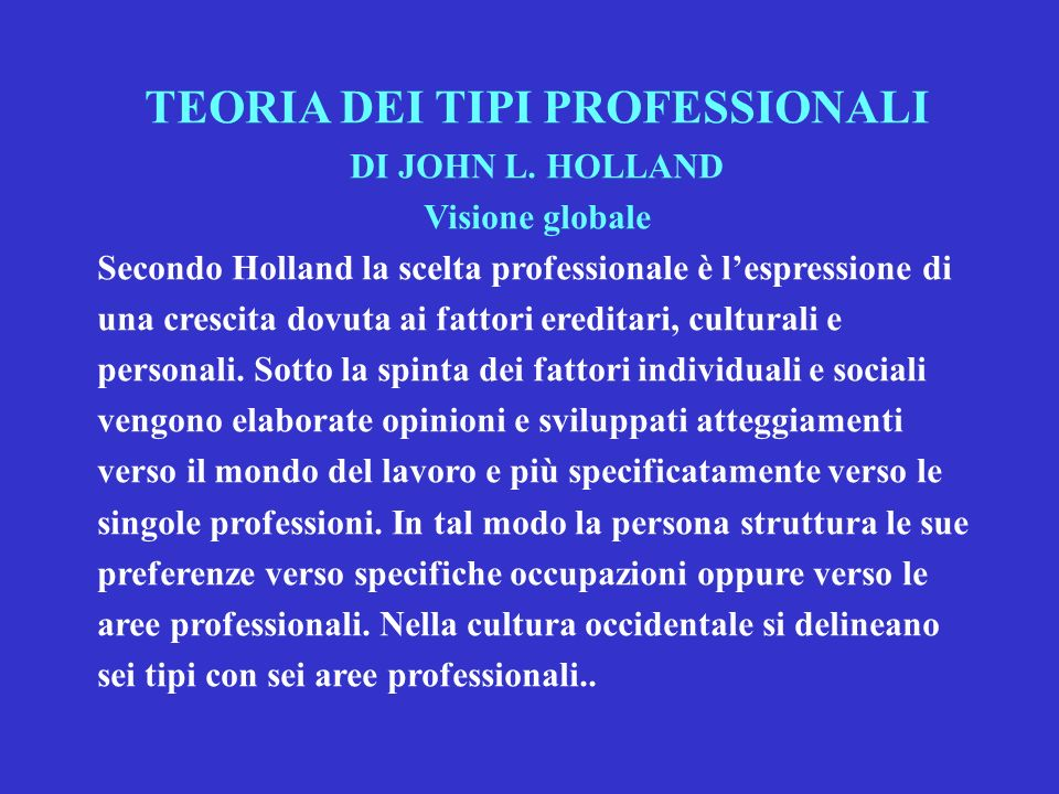TEORIA DEI TIPI PROFESSIONALI