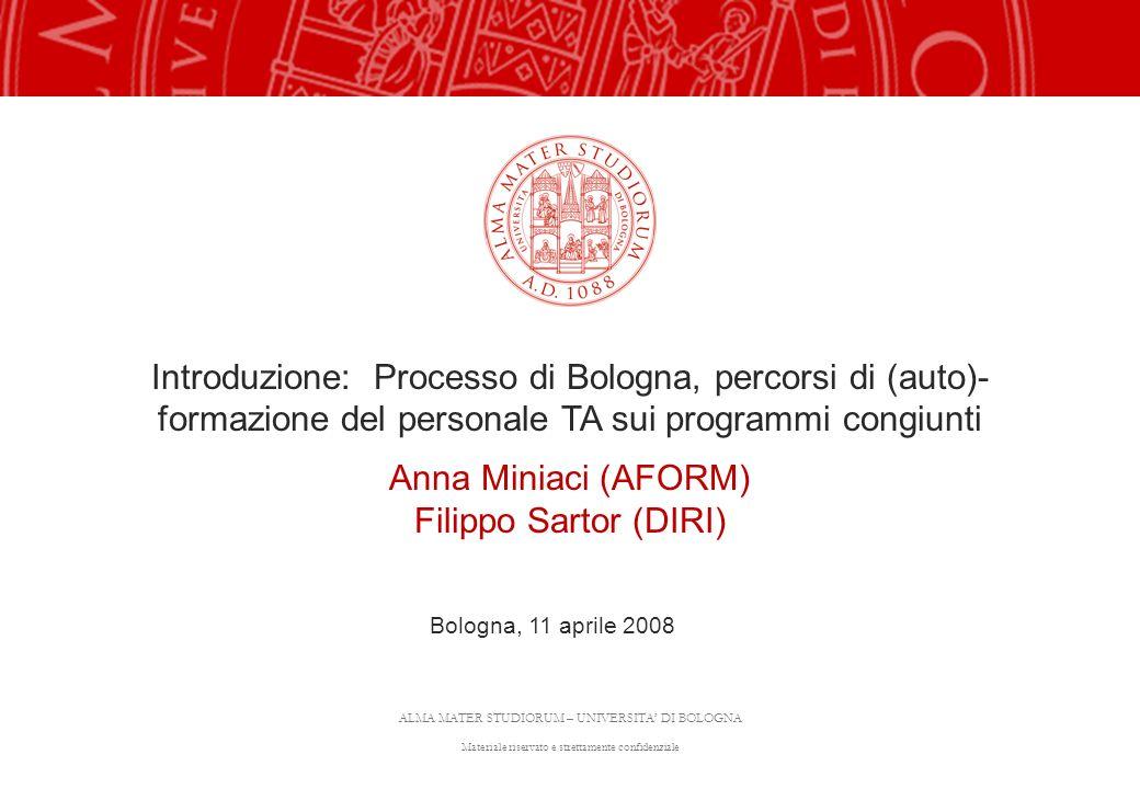 Introduzione: Processo di Bologna, percorsi di (auto)-formazione del personale TA sui programmi congiunti