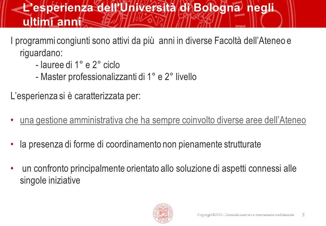 L'esperienza dell Università di Bologna negli ultimi anni