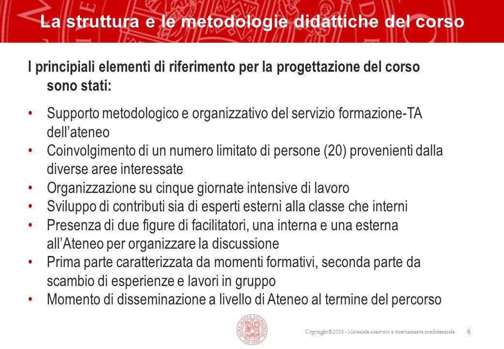 La struttura e le metodologie didattiche del corso