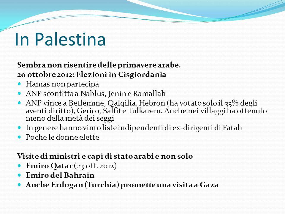 In Palestina Sembra non risentire delle primavere arabe.