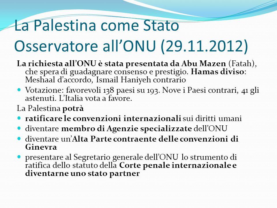 La Palestina come Stato Osservatore all'ONU (29.11.2012)