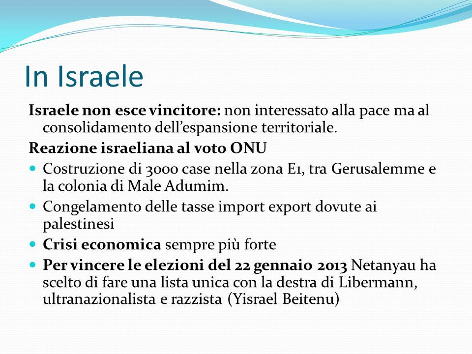 In Israele Israele non esce vincitore: non interessato alla pace ma al consolidamento dell'espansione territoriale.