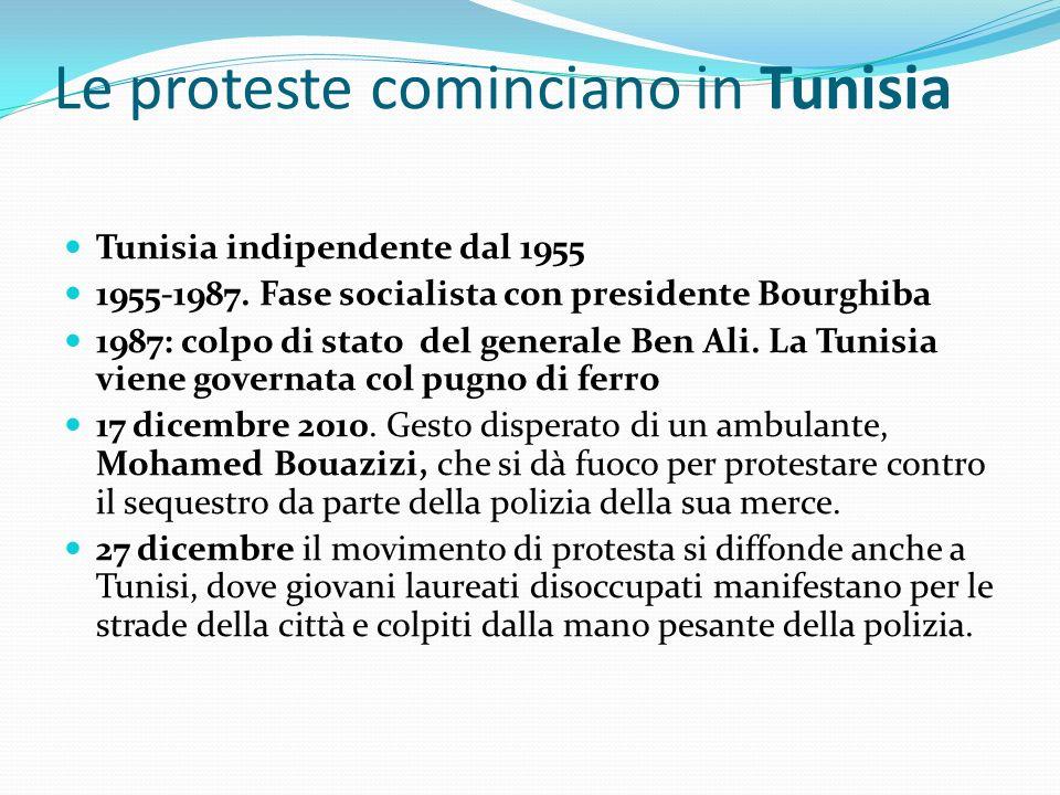 Le proteste cominciano in Tunisia