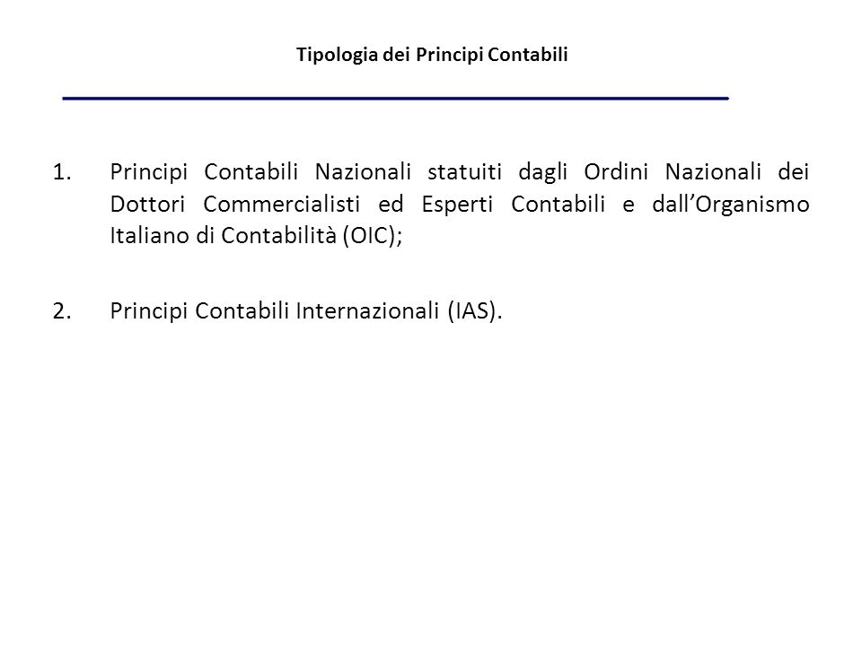 Tipologia dei Principi Contabili