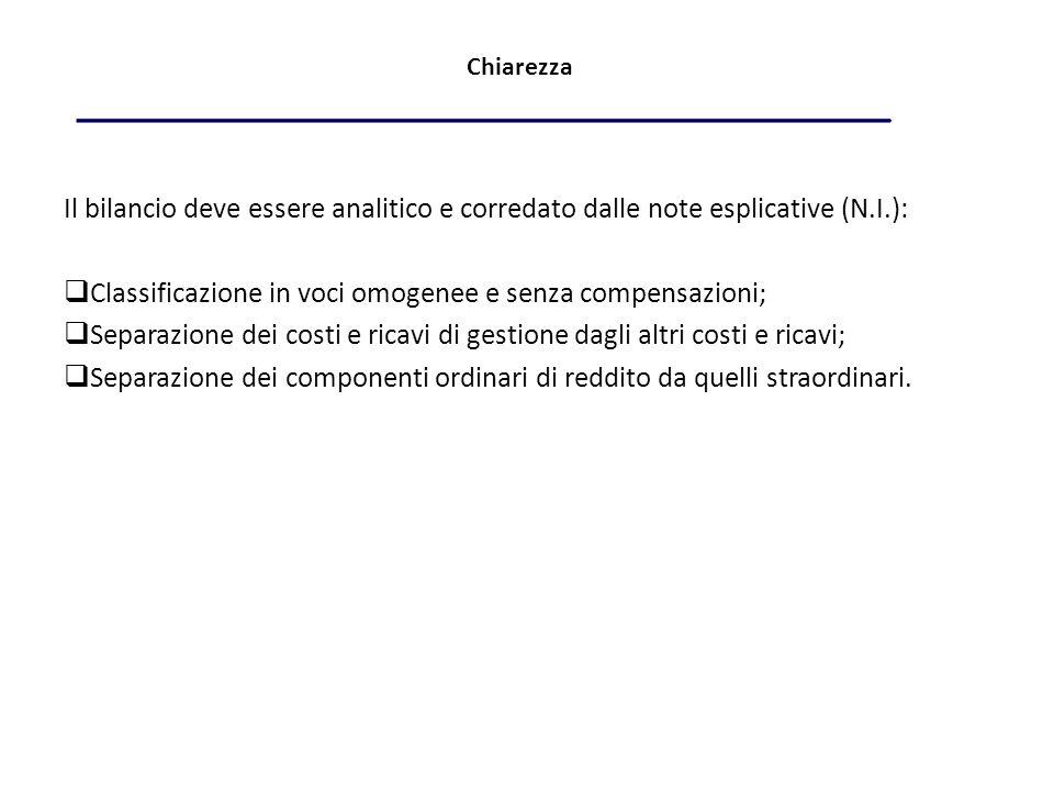 Classificazione in voci omogenee e senza compensazioni;